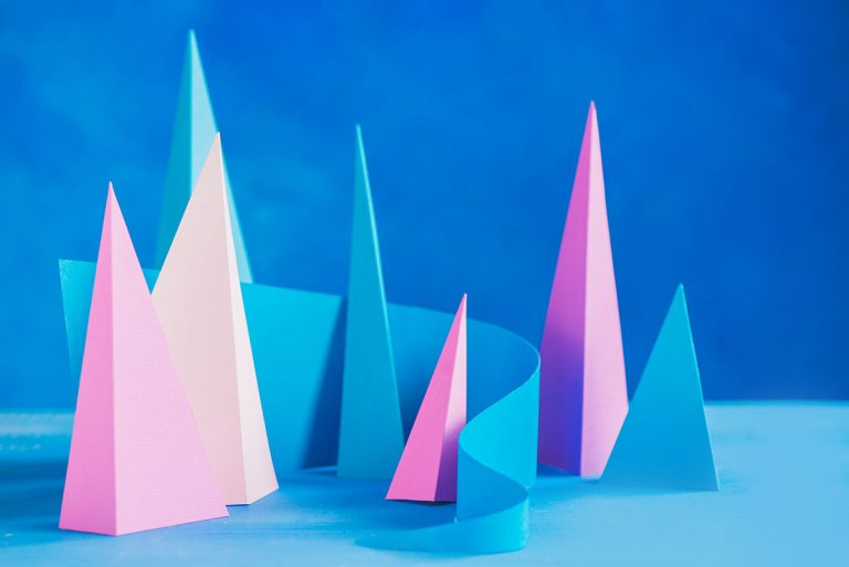 Abstract pastel tone header. Origami papercraft sculpture in pastel tones. Vibrant design template with modern shapes and copy space